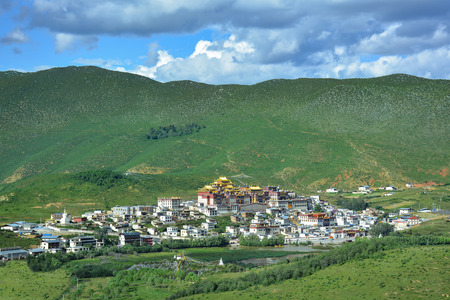 View of Ganden Songzanlin Buddhist Monastery from the top of the hill. Shangri-La, China