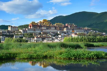 Ganden Sumtseling Monastery. Tibetan Buddhist temple in Zhongdian (Shangri-La), China Sajtókép