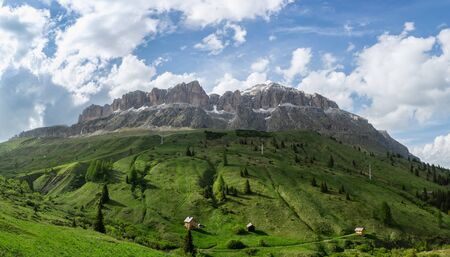 Panoramic view on the Sella massif and Piz Boe. Dolomites, Italy