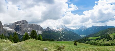 Panoramic view at the Sella group and Marmolada mountain. Dolomites, Trentino Alto-Adige