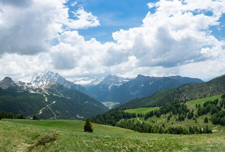 Beautiful view of Dolomites and Fassa Valley from Sella Pass. Italian Alps, South Tyrol