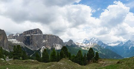 Panorama of Sella massif and mount Marmolada. Dolomites, Italy 写真素材