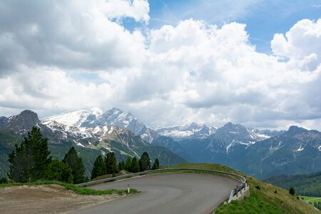 View of Dolomites on the way to Passo Sella. South Tyrol, Italy 写真素材