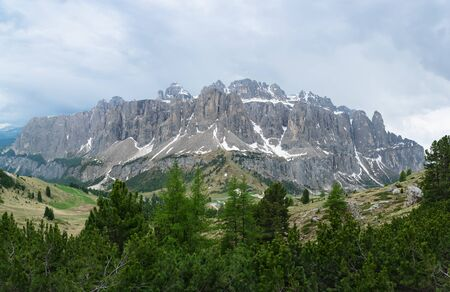 Panorama of the Sella massif from Pizes de Cir. Dolomites, Trentino Alto-Adige