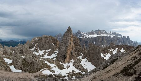 Pizes de Cir and Gruppo del Sella in Dolomites. South Tyrol, Italy