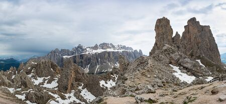 Panoramic view of Cir Peaks and Sella massif on the background. Dolomites, Italy