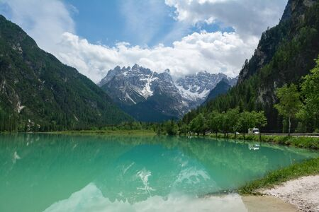 Beautiful view of Lake Landro and reflections of mount Cristallo in the water. Cortina d'Ampezzo, Italy 写真素材
