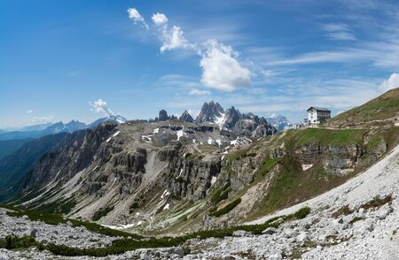 Beautiful panoramic view of Refuge Auronzo in Drei Zinnen (Tre Cime) natural park. Cortina d'Ampezzo, Italy