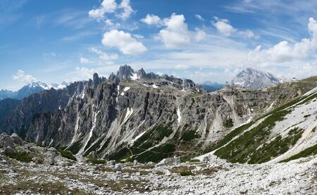 Panorama of Tre Cime (Drei Zinnen) natural park. Sesto Dolomites, Italy.