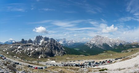 Panoramic view of Drei Zinnen (Tre Cime) parking place. Sexten Dolomites, Italy