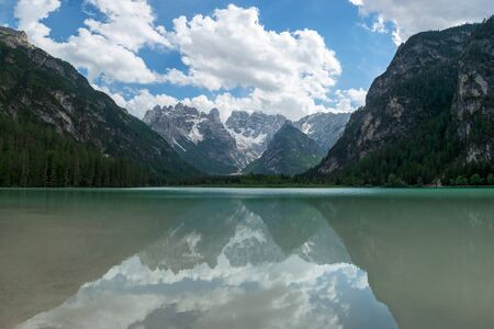 Panoramic view of Lago di Landro with reflections of monte Cristallo in the water. Italian Alps, Europe