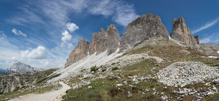 Panoramic view on Three Peaks of Lavaredo. Trail to Rifugio Auronzo. South Tyrol, Italy