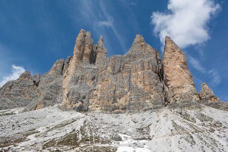 View of Tre Cime di Lavaredo from Rifugio Lavaredo. Dolomites, Italy Stockfoto