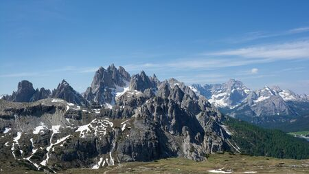 Beautiful view of Sesto Dolomites from Rifugio Auronzo. South Tyrol, Italy