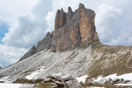 Spectacular view on the Tre Cime (Drei Zinnen) mountains. Cortina d'Ampezzo, Italy