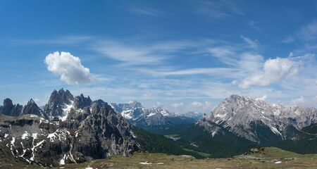 Panorama of Parco Naturale Tre Cime (Drei Zinnen). South Tyrol, Italy