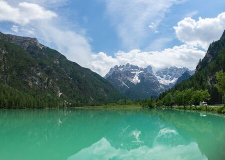 Panoramic view of Landro Lake with reflecting in the water mount Cristallo. Cortina d'Ampezzo, Italy
