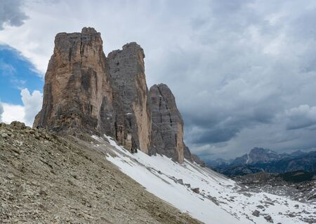 Close-up view of Tre Cime di Lavaredo. Sesto Dolomites in South Tyrol, Italy