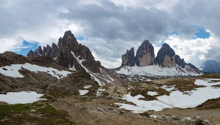 Panorama of Tre Cime di Lavaredo and Mount Paterno in spring. Dolomites, Italy