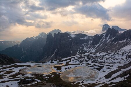 Beautiful view of Laghi dei Piani at sunset. Tre Cime (Drei Zinnen), Italy 写真素材