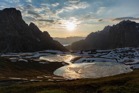 Beautiful panoramic view of Laghi dei Piani at sunrise. Tre Cime (Drei Zinnen) natural park, Italy
