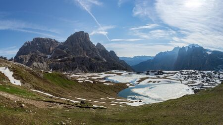 Panoramic view of Laghi dei Piani covered with ice in spring. Tre Cime, Italian Alps 写真素材