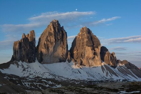 Tre Cime (Drei Zinnen) mountain in the rays of morning sun. Sudtyrol, Italy