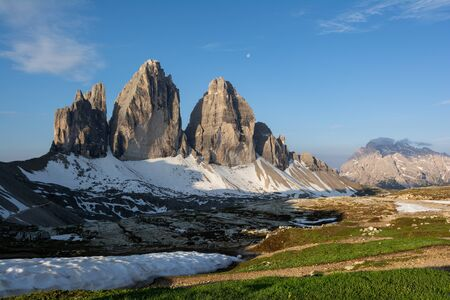 Three Peaks of Lavaredo. View from Refuge Locatelli in the early morning. Dolomites, Italy