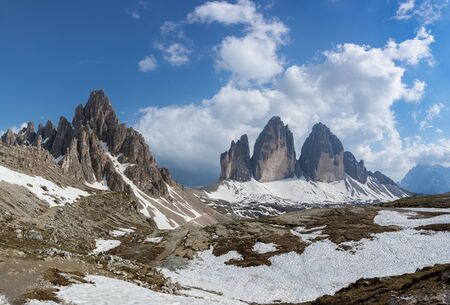 Beautiful panoramic view of Tre Cime (Drei Zinnen) and Paterno mountains. Dolomites, Italy 写真素材