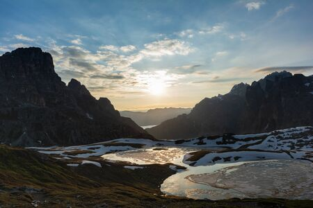 Panorama of Piani Lakes at sunrise in Parco Naturale Tre Cime. Sesto Dolomites, Italy