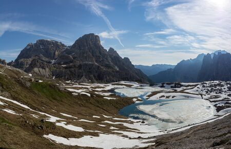 Beautiful panorama of Piani Lakes in spring. Sesto Dolomites, Italy