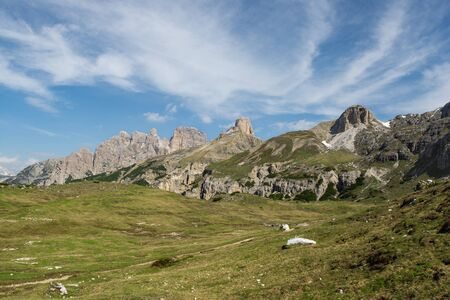 Panoramic view of Tre Cime (Drei Zinnen) natural park. Sesto Dolomites, Italy 写真素材