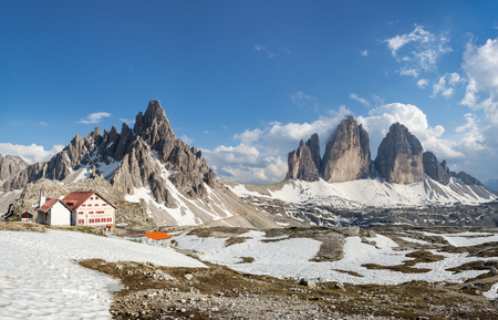 Panorama of Tre Cime (Drei Zinnen) and Mount Paterno. Sexten Dolomites, Italy
