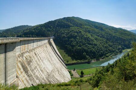Bicaz-Stejaru Hydroelectric Power Station in Carpathian mountains, Romania Stock Photo