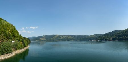 Beautiful panoramic view of Lake Izvorul Muntelui (Lacul Bicaz) from the dam, Romania