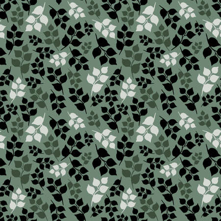 Seamless pattern of leaves. Silhouette of leafy twigs isolated on pastel green. Hand drawn round pointed foliage. Dark, light and middle khaki colors. Perfect for wrapping paper, textile and backdrop. Standard-Bild