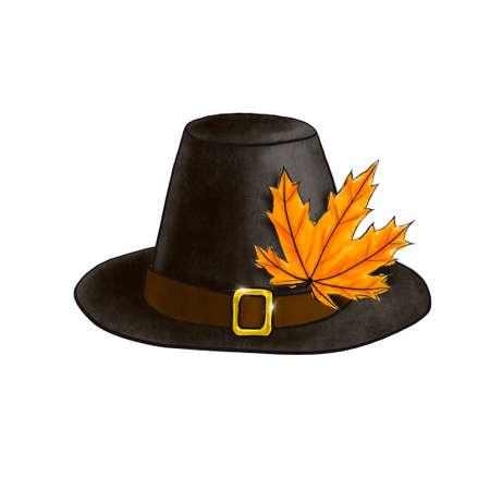 Black Pilgrim hat with autumn orange maple leaf isolated on white. Digital imitation of pastel illustration dark headdress with brown belt and golden shiny buckle. Symbol of Thanksgiving day holiday