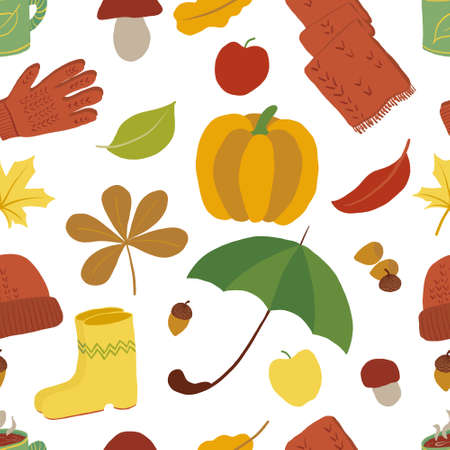 Seamless pattern with fall season symbols. Endless design of autumn related isolated objects. Mild colors. Leaves, clothes, rain protection, harvest. Can be used On textile, wrapping paper for kids