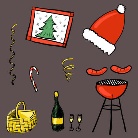 Set for Christmas barbecue elements, such as grill, basket, champagne, sausages, candy. Decoration for winter picnic outdoors. Food and drink to celebrate holiday with BBQ. Vector illustration Vetores