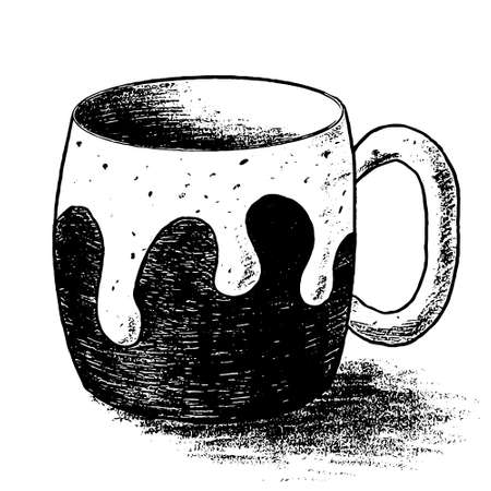 Black graphic textured fat bellied cup with trace of leakage. Vector illustration of ceramic mug of tea or coffee with Stains and dots for menu of restaurant, coffee shop, cafeteria