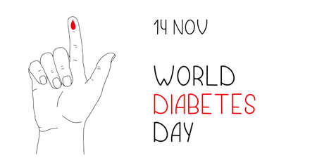 Banner or poster for World Diabetes Day. Human hand with lifted up index finger and drop of blood as symbol of measurement of sugar level. Medical illustration on health care awareness campaign