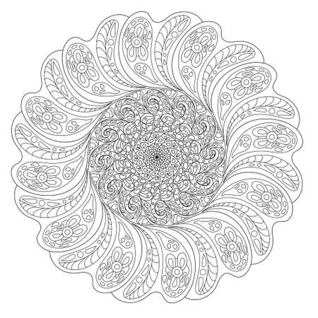 Flower circular lace mandala outline for coloring. Floral round ornament pattern in black on white background. Arab, arabesque, kaleidoscope, islamic shape motifs. Indian, persian and iranian elements