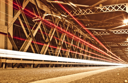 light trails: Light Trails on the Bridge, Cremona, Italy Stock Photo