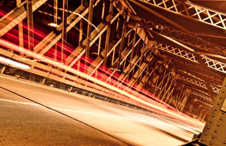 artificial lights: Light Trails on the Bridge, Cremona, Italy Stock Photo