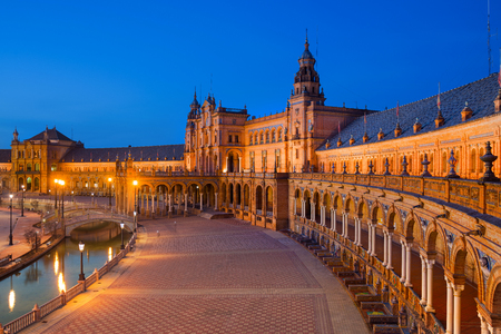 Spain Square in Maria Luisa Park at Dusk, Seville, Andalusia, Spain
