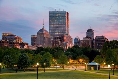Boston Back Bay Skyline at the Sunset from the Boston Common Hill