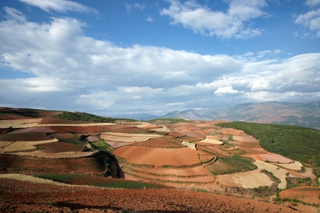 Colorful farmland in dongchuan of china photo