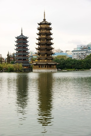 Two towers in lake  photo
