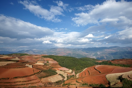 Colorful farmland in dongchuan of china