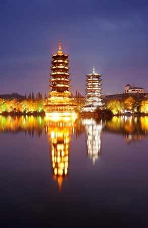 ancient tower night scape,guilin,china  Stock Photo